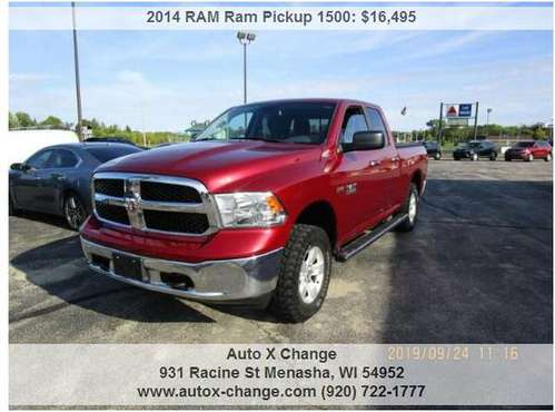 2014 RAM Ram Pickup 1500 SLT 4x4 4dr Quad Cab 6.3 ft. SB Pickup 137025 for sale in Neenah, WI