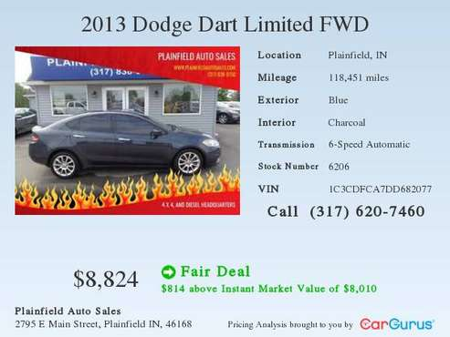 2013 Dodge Dart Limited FWD for sale in Plainfield, IN
