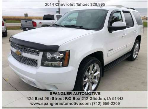 2014 CHEVY TAHOE LT*54K*HEATED LEATHER*DVD*MOONROOF*BACKUP CAM*LOADED! for sale in Glidden, IA