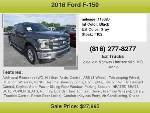 2016 FORD F-150 4X4 LARIAT PANO ROOF NAV LEATHER Ask for Richard for sale in Harrison ville, MO