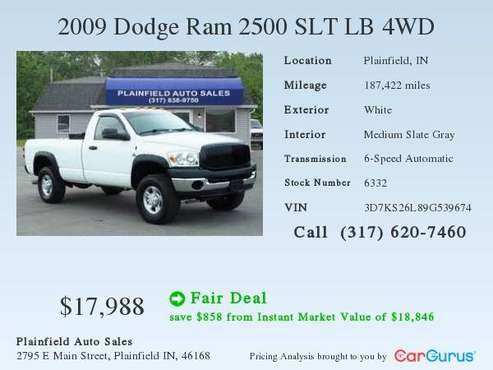 2009 Dodge Ram 2500 SLT LB 4WD for sale in Plainfield, IN
