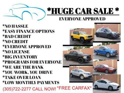 BIG CAR SALE! HUGE CAR SALE! LOW MONTHLY PAYMENTS STARTING $499 DOWN!! for sale in Miami, FL