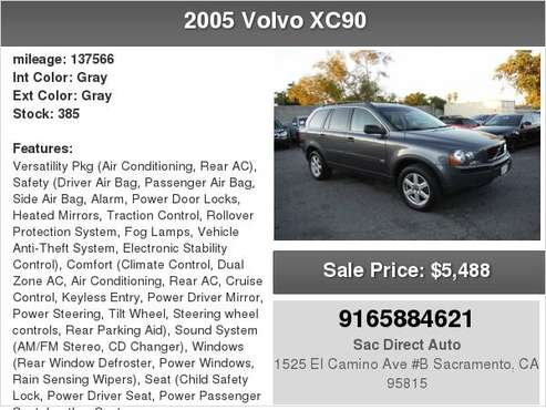 2005 Volvo XC90 AWD 3RD ROW SEAT 137K MILES for sale in Sacramento , CA