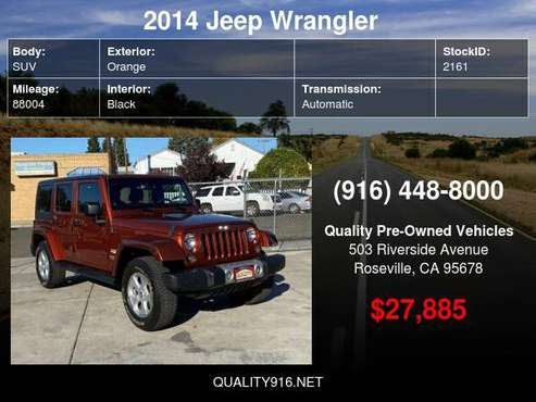 2014 Jeep Wrangler Unlimited Sahara Sport Utility 4D BEST PRICES -... for sale in Roseville, NV