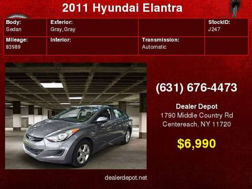 2011 Hyundai Elantra 4dr Sdn Auto GLS Alabama Plant Ltd Avail for sale in Centereach, NY
