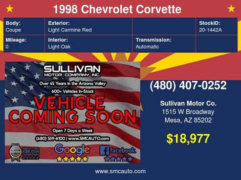 1998 Chevrolet Corvette Base - cars & trucks - by dealer - vehicle... for sale in Mesa, AZ