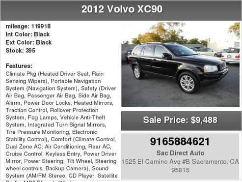 2012 Volvo XC90 3RD ROW SEAT NAVIGATION BACK-UP CAMERA for sale in Sacramento , CA