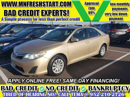 💯 2012 TOYOTA CAMRY 💯 BAD CREDIT NO CREDIT OK 0-$500 DOWN oac! -... for sale in Minneapolis, MN